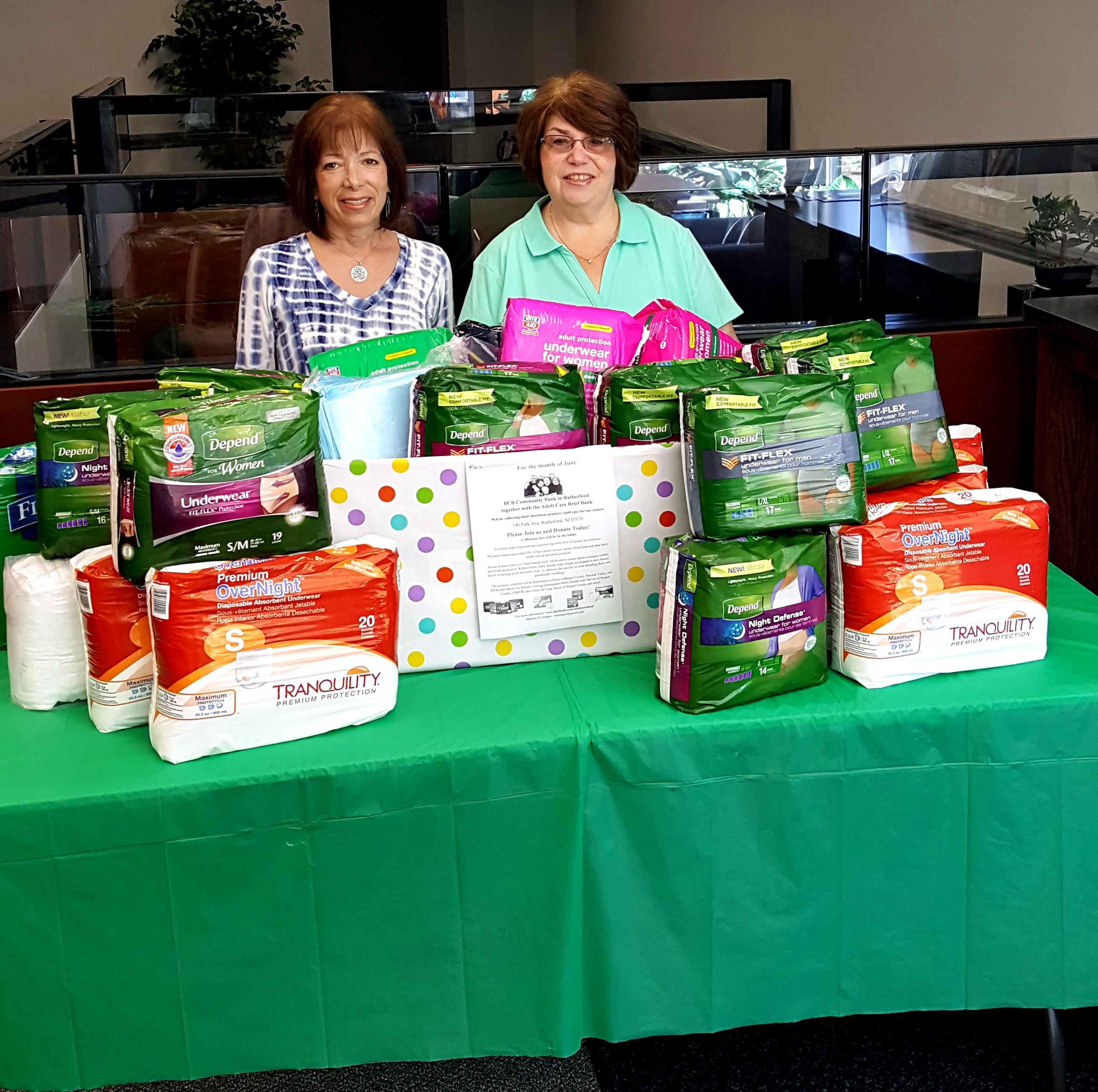 BCB organized an Adult Brief Drive at the Rutherford branch, collecting adult briefs for low income residents of Bergen County. Pictured are Marlene Ceragno, Founder of the Adult Brief Bank, and Kathleen Hansen, Branch Manager at BCB.